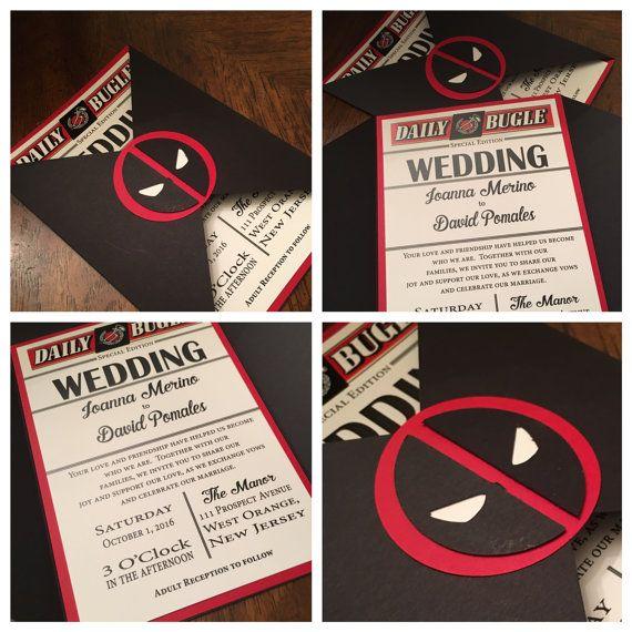 Matrimonio Tema Marvel : Folder wedding invitation deadpool