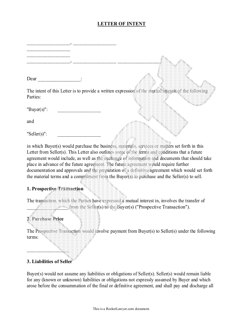 Letter Of Intent For Business Purchase Sample Template Letter Of Intent Intentions Lettering