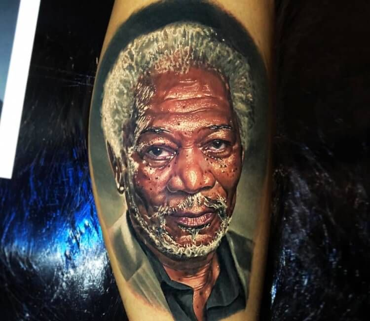 Morgan Freeman Tattoo By Ben Kaye Post 27251 Portrait Tattoo Tattoos Color Tattoo