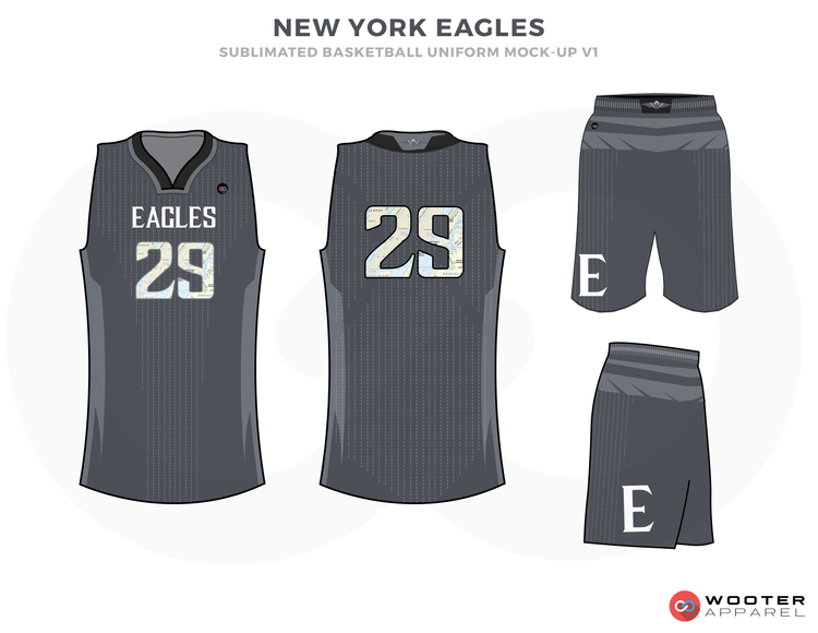 NEW YORK EAGLES Grey White and Black Basketball Uniforms e76e12b95