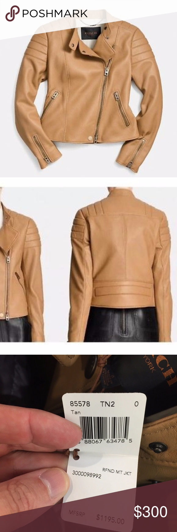 NEW COACH Refined Moto Leather Jacket 0 New Women's Coach