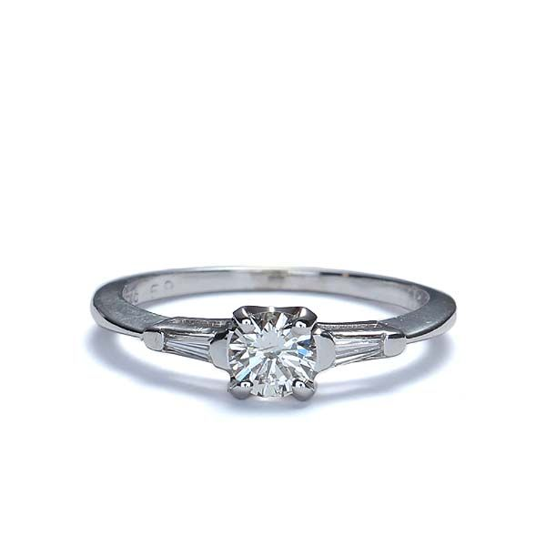 Front view of Midcentury Diamond Engagement ring