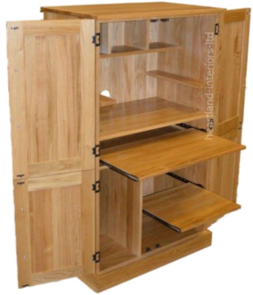 Details About Solid Oak Desk 4 Door Bespoke Hideaway
