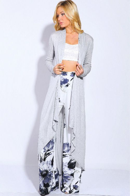 Long Charlie Cardigan in Heather Gray...love her palazzo pants too!