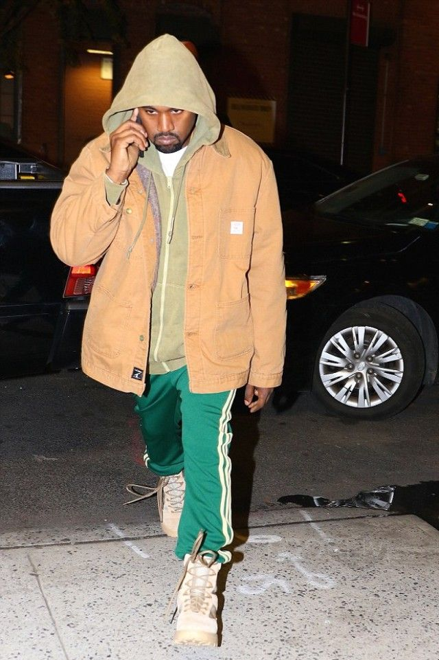 ac436d808 Kanye West wearing Adidas Yeezy Season 4 Calabasas Sweatpants