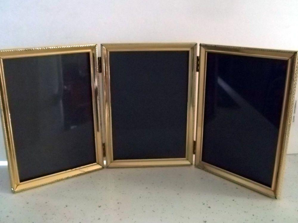 Vtg Hollywood Regency Triple Tri Fold Hinged Gold Tone Triple
