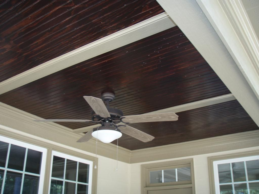Stained beadboard ceiling for front porch outdoors for Ceiling board designs
