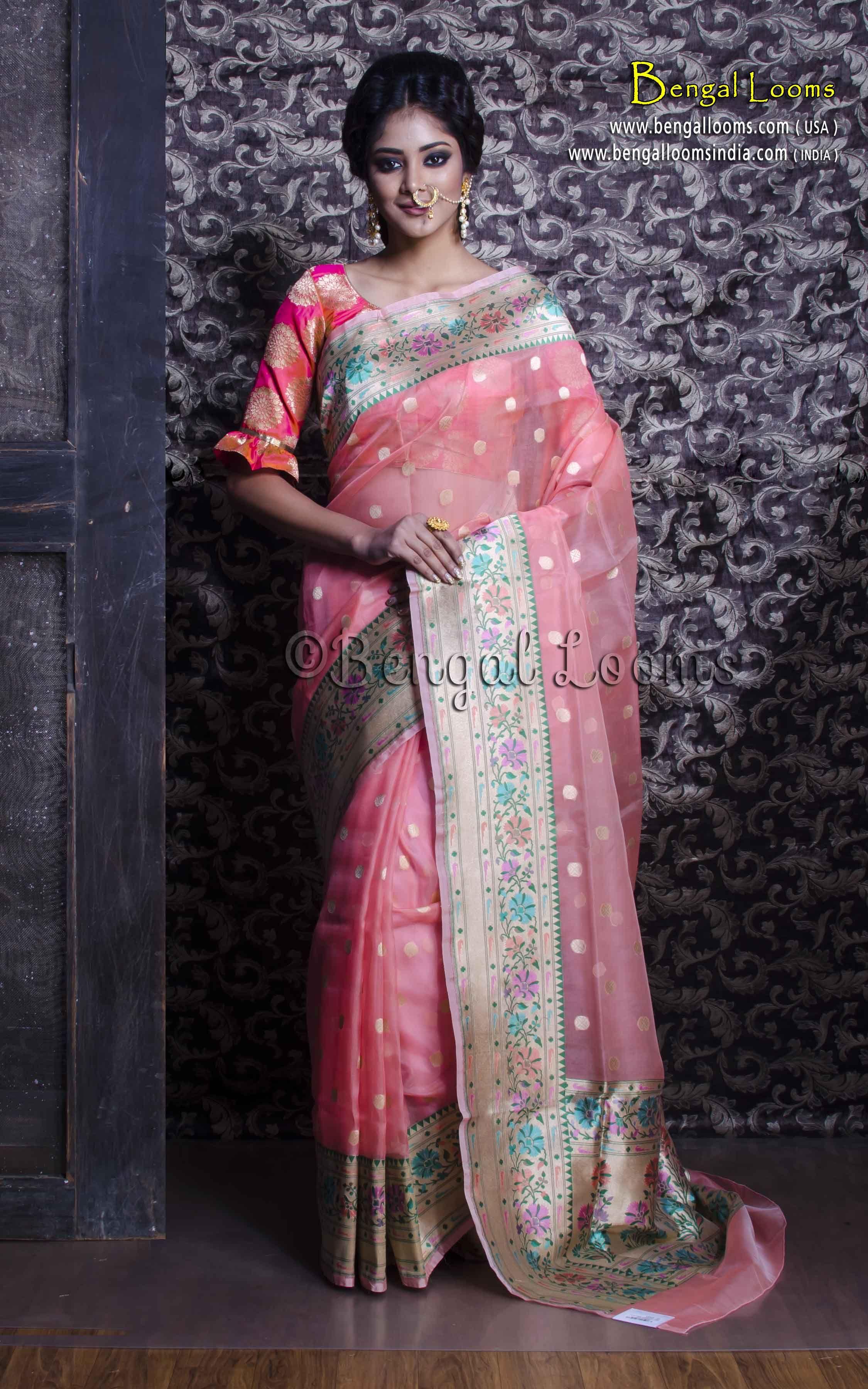 7f3b3f69710be Pure Handloom Kora Silk Banarasi Saree in Baby Pink and Muted Gold ...
