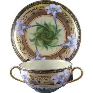 """William Guerin (WGCo.) Limoges Pickard """"Easter Lily"""" Pattern Bouillon Cup  Saucer Set (Signed/""""O.S."""" for Otto Schoner/c.1905-1910) by vicky"""