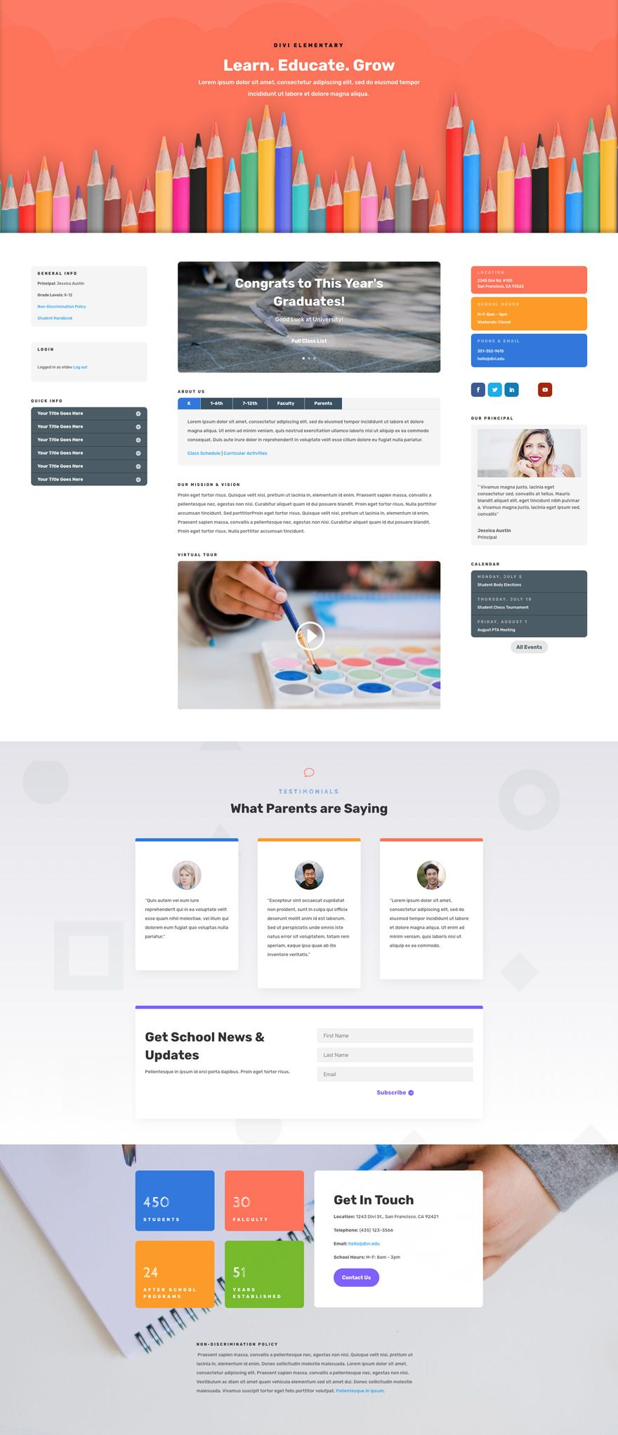 Elementary School Landing Page Elegant Themes Web Design School Website Design Layout Website Design Inspiration Layout