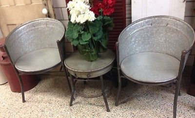 Vintage Primitive Style Galvanized Tub Chairs And Round Table Industrial