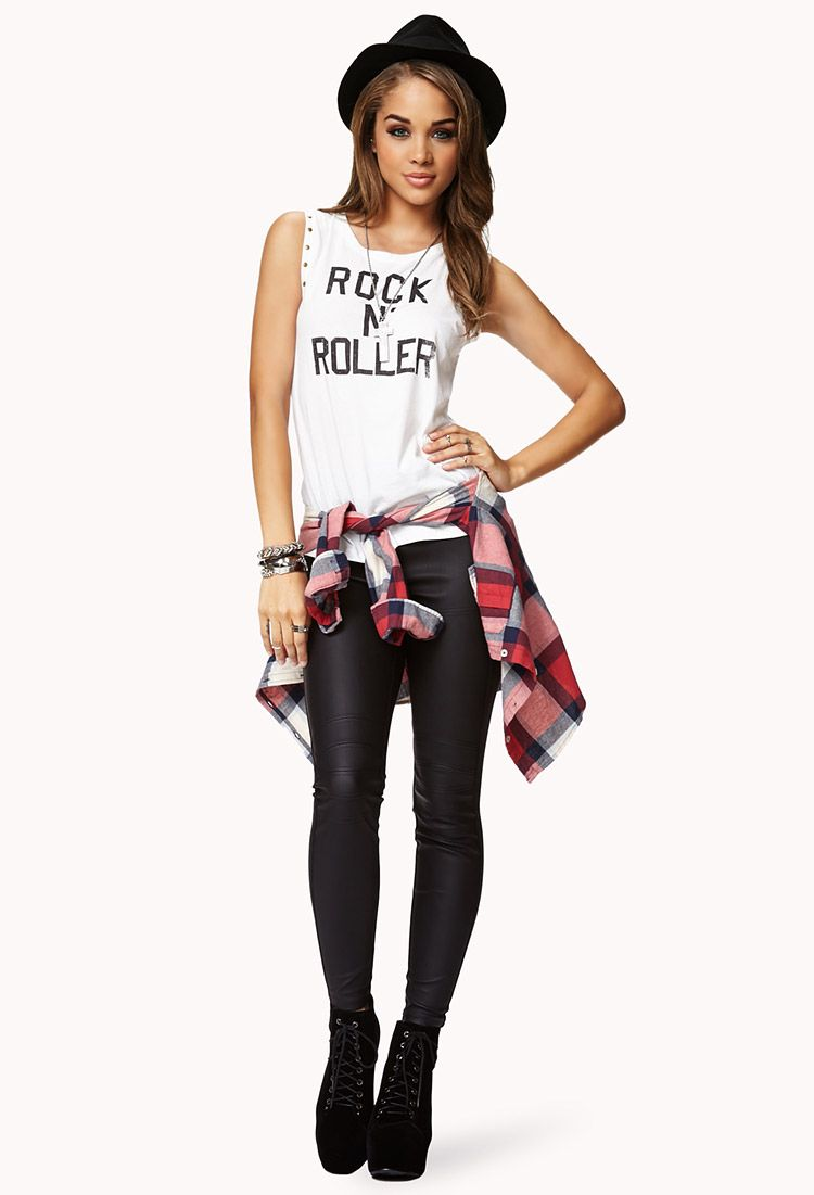 Leather Legging Forever 21, I have to try it! But I don't know with which shoes I'm gonna use it...