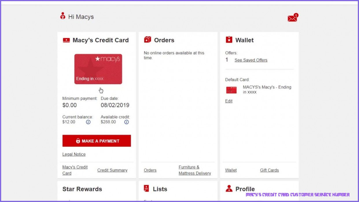 Macy's Customer Service Site in 2020 Credit card