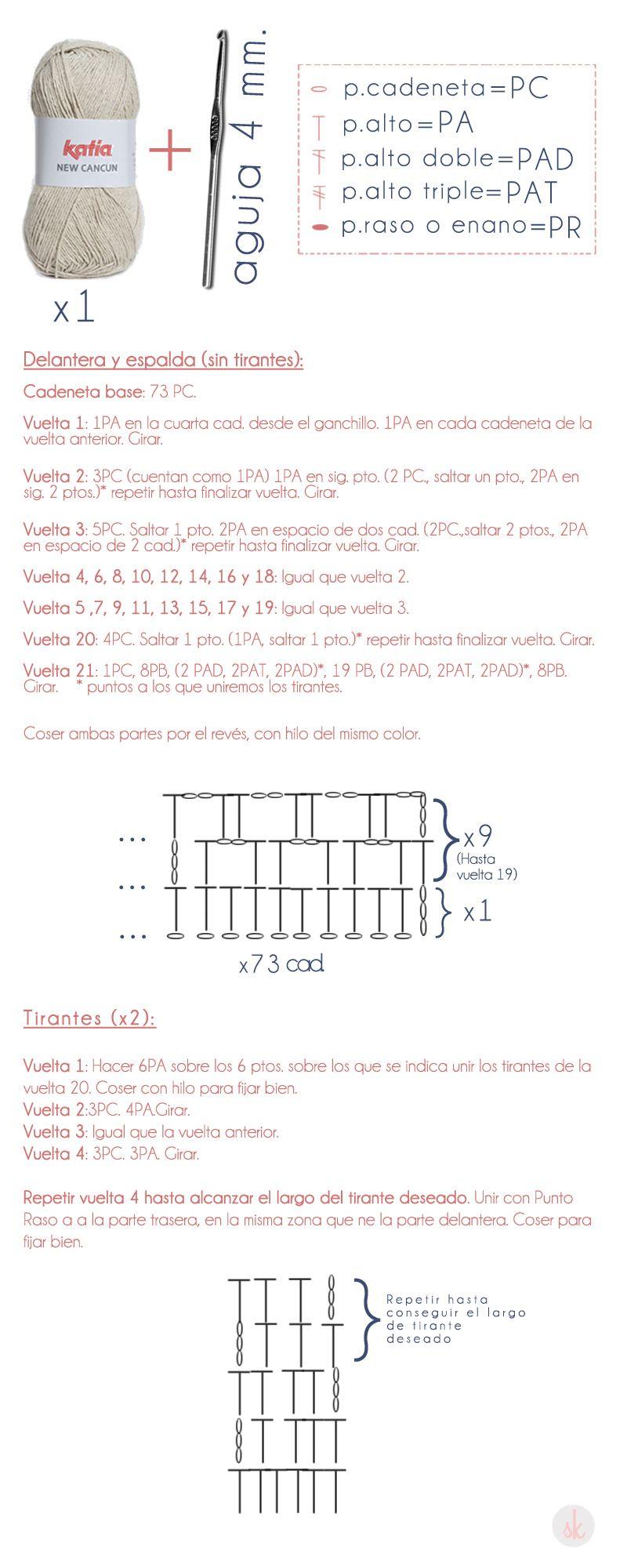 Patrón de CROP TOP hecho a ganchillo (crochet) | Crochet | Pinterest ...