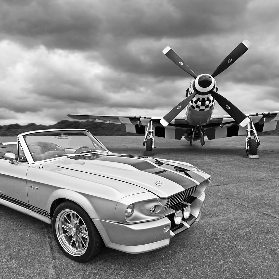 Eleanor mustang with p51 black and white