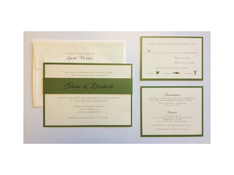 Green and ivory wedding invitation on smooth natural paper! They used the band as part of the design on the main invite!_A to Z Paperie