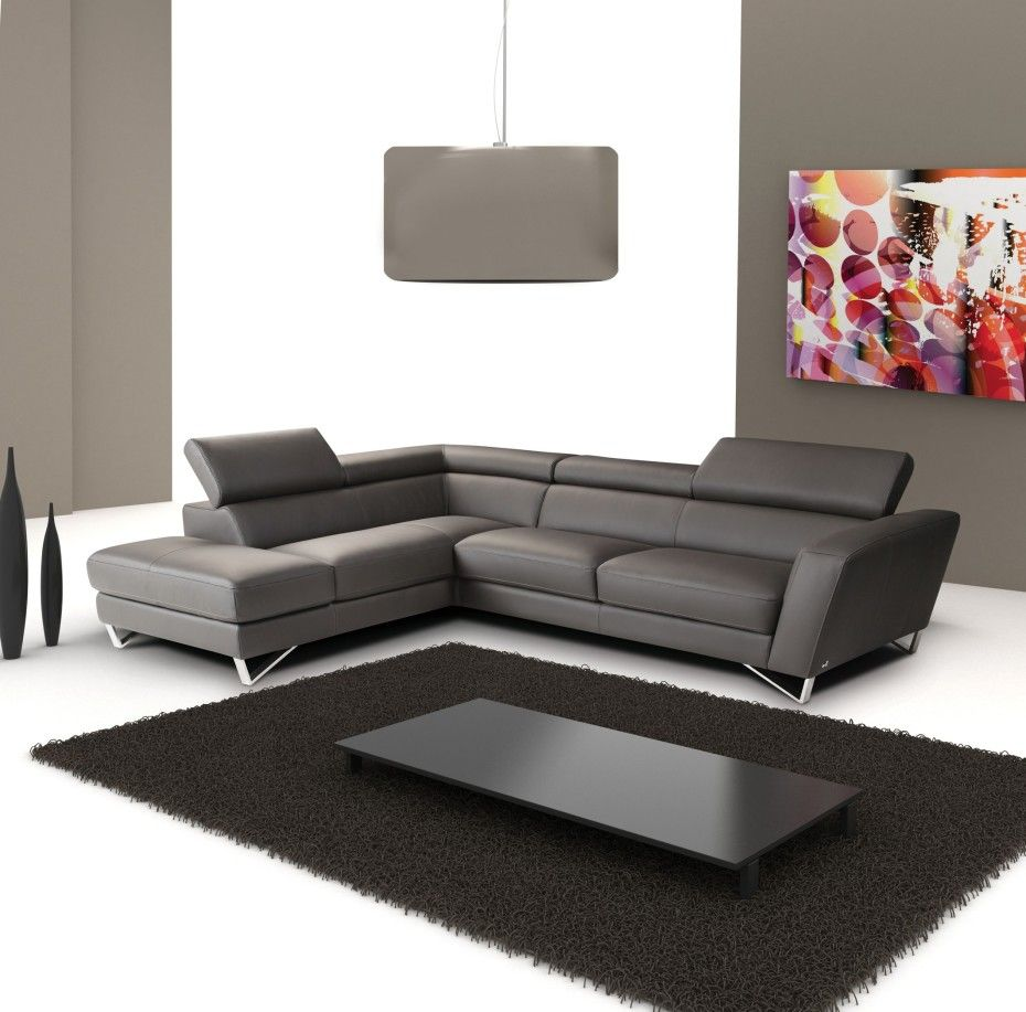 Amazing Home Italian Grey Leather L Shape Sectional Sofa
