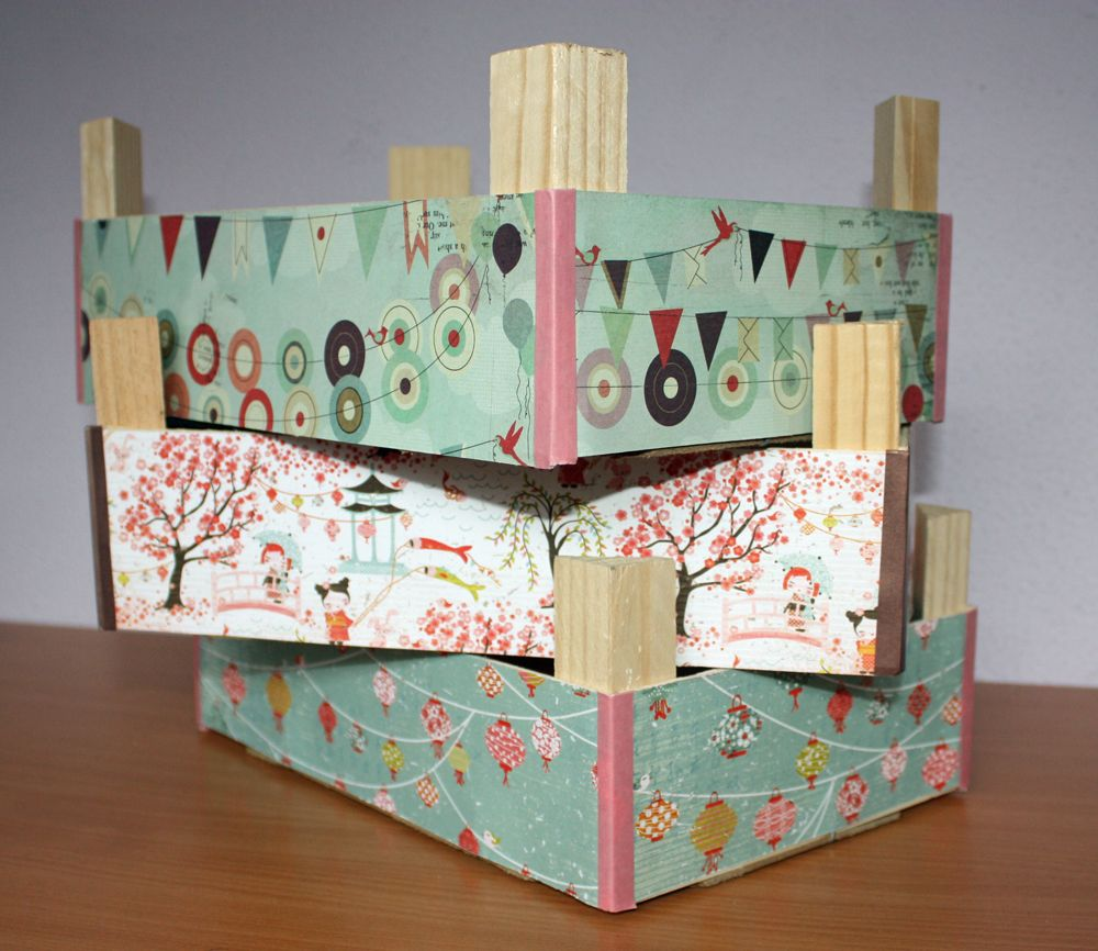 cajas de fruta de madera decoradas