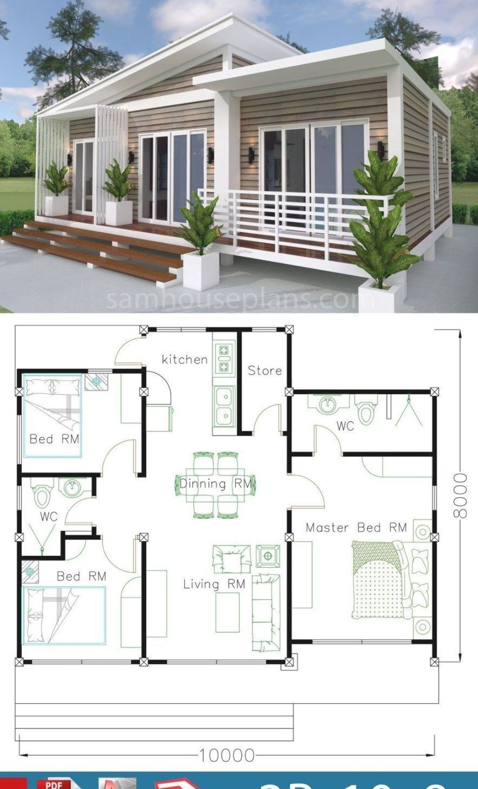 House Plans 10x8m With 3 Bedrooms Sam House Plans Small Beach House Plans Beach House Floor Plans Small Beach Houses