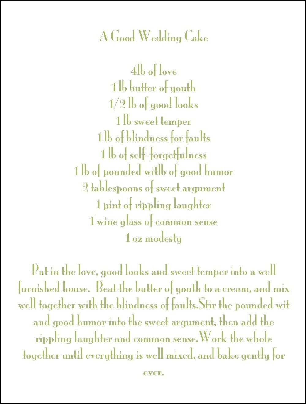 recipe perfect wedding cake poem the wedding cake poem cake recipe 19045
