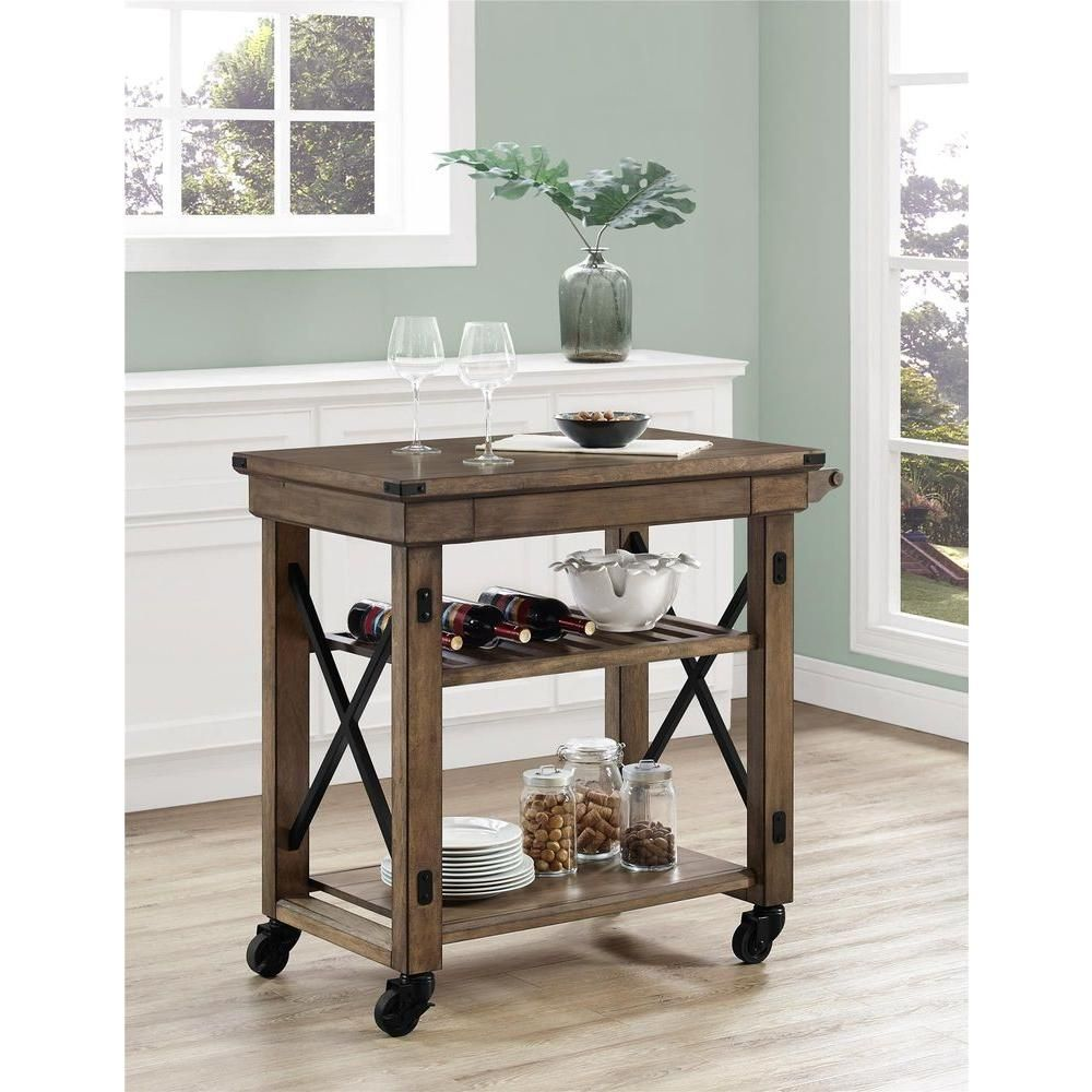 Altra Furniture Wildwood 39 in. W Wood Veneer Rolling Kitchen Cart ...