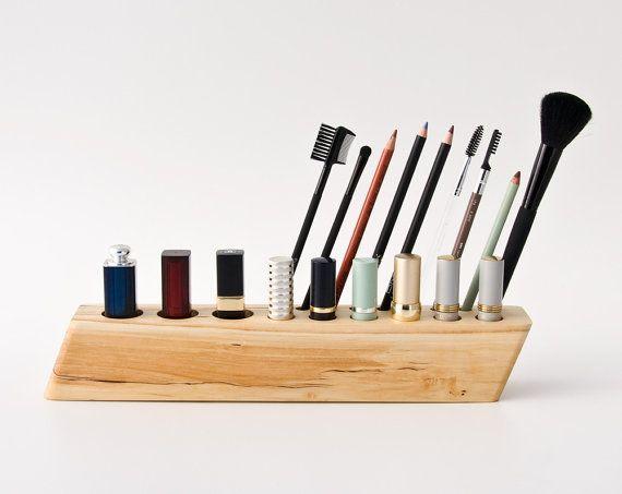 Cosmetic Makeup Organizer Wood Countertop Organizer By Lessandmore - Cosmetic makeup organizer wood countertop organizer by lessandmore