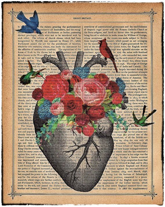 Love #Art on old newspaper.. #Anatomical #Heart with #Birds ...