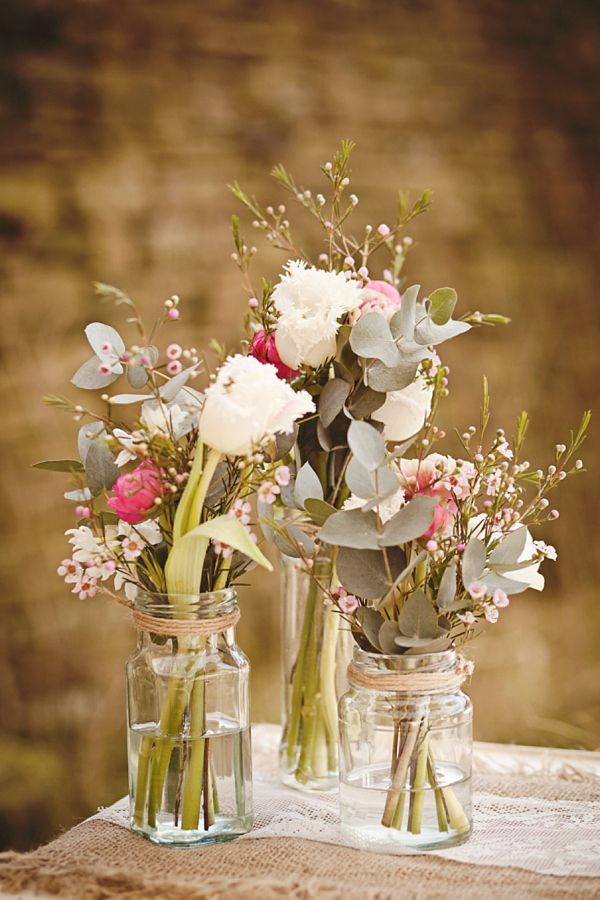 Mason Jar Arrangements Rustic And Whimsical Pretty Countryside Wedding Day Inspiration