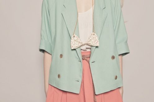 Mint green, coral, and bows!!