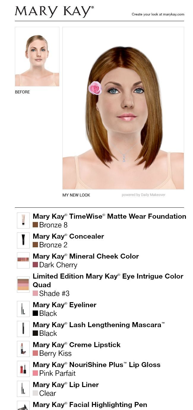 I just got a great new look using the FREE Mary Kay® Virtual Makeover. Try it out for yourself and then share it with all your friends!
