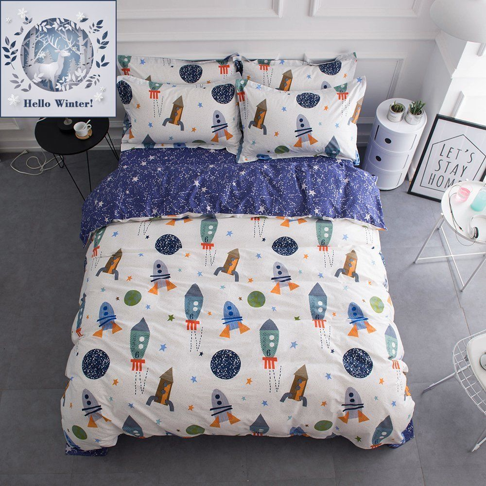 Bulutu Space Rocket Print Cotton Boys Duvet Cover Sets Twin White Blue Universe Adventure Theme Star Kids Girls B Boys Duvet Cover Girls Bedding Sets Girl Beds