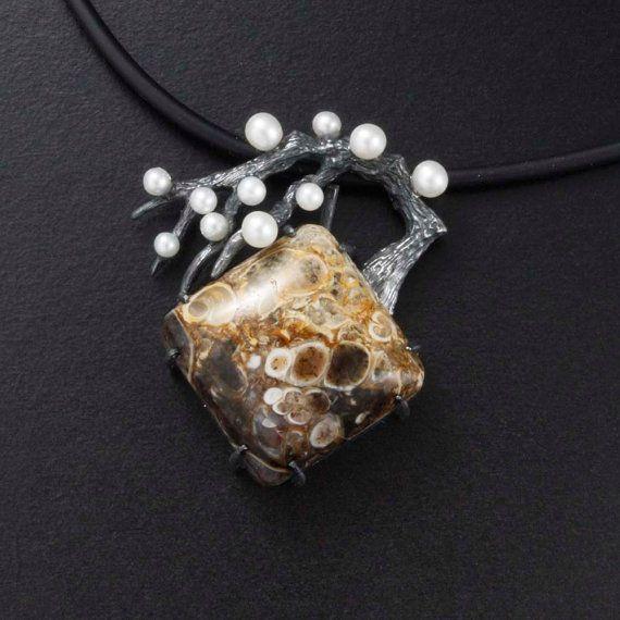 Japanese pendant necklace wabi sabi pendant necklace agate pearl japanese pendant necklace wabi sabi pendant necklace agate pearl oxidized silver pendant necklace of plum tree aloadofball Gallery