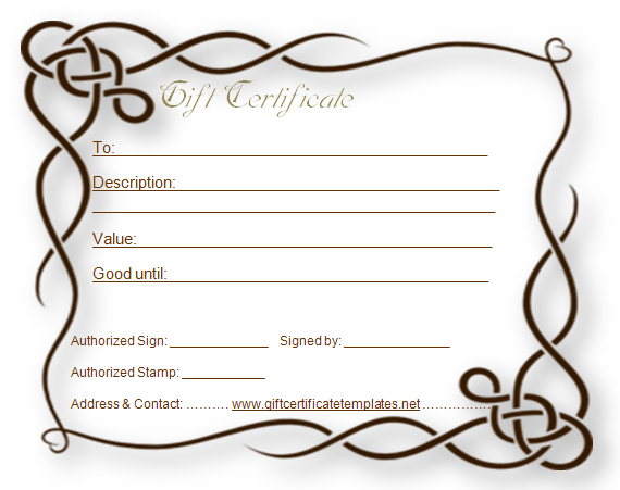 Formal Gift Certificate Template  Beautiful Printable Gift