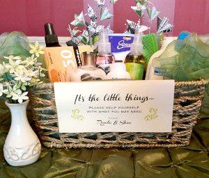 Wedding bathroom basket wedding bathroom baskets for Wedding reception bathroom ideas