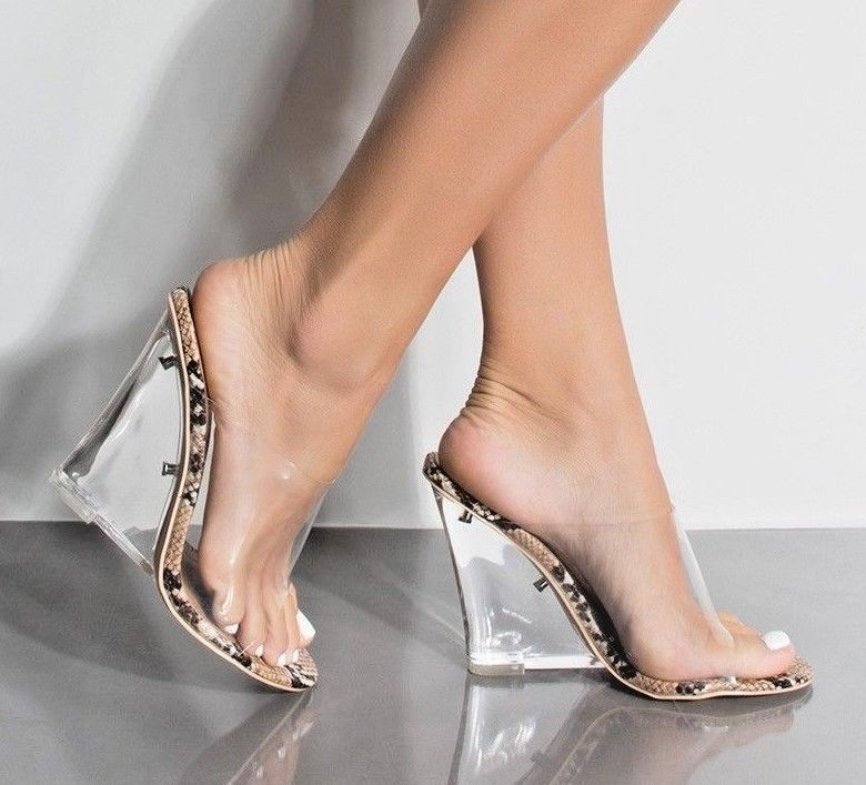 2a562a91d7fe Clear Nude Lucite Wedge Heel Slide Mules Open Toe Natural Snake Sandals  Shoe  CapeRobbin  Mules  Casual