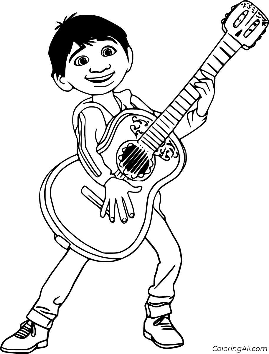 19 free printable Coco coloring pages in vector format, easy to