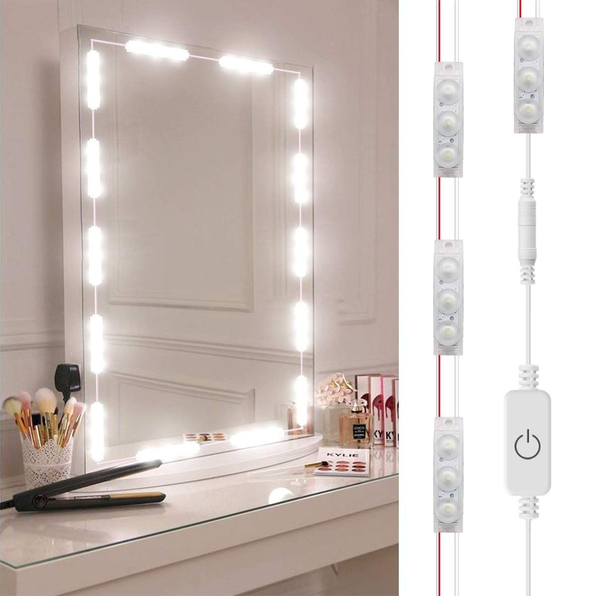 Diy Hollywood Style Led Vanity Mirror Lights Kit Dimmable Lighting