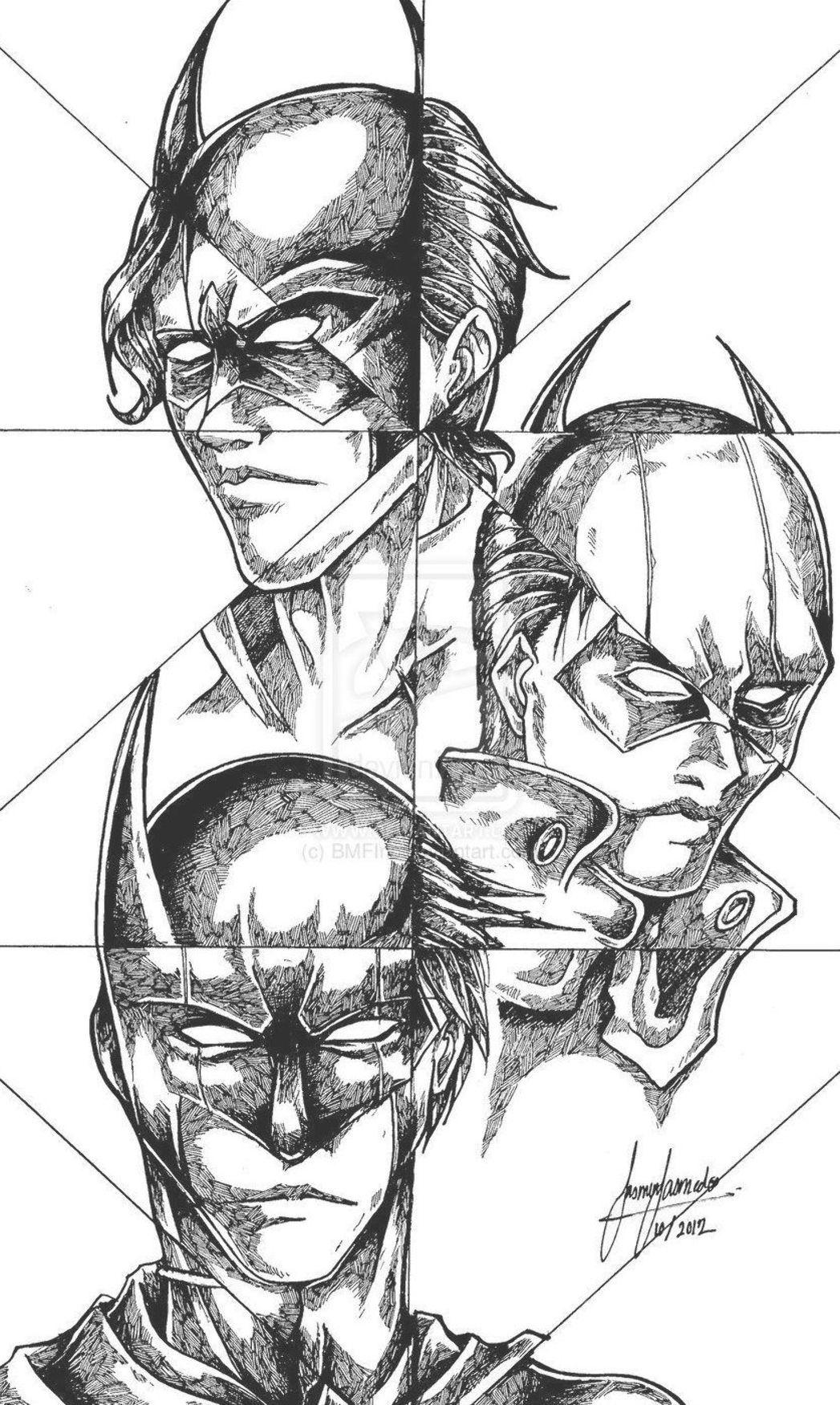 Batman Robin Nightwing Red Hood Drawing Batman Coloring Nightwing Batman Coloring Pages Batman Robin