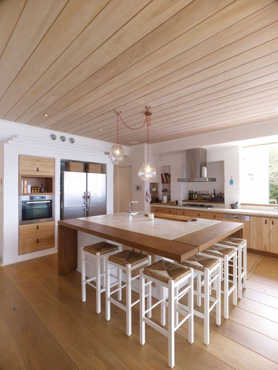 Ideas Terrific Large Square Kitchen Island With White Marble Island Top And  Hardwood Plank Flooring Also