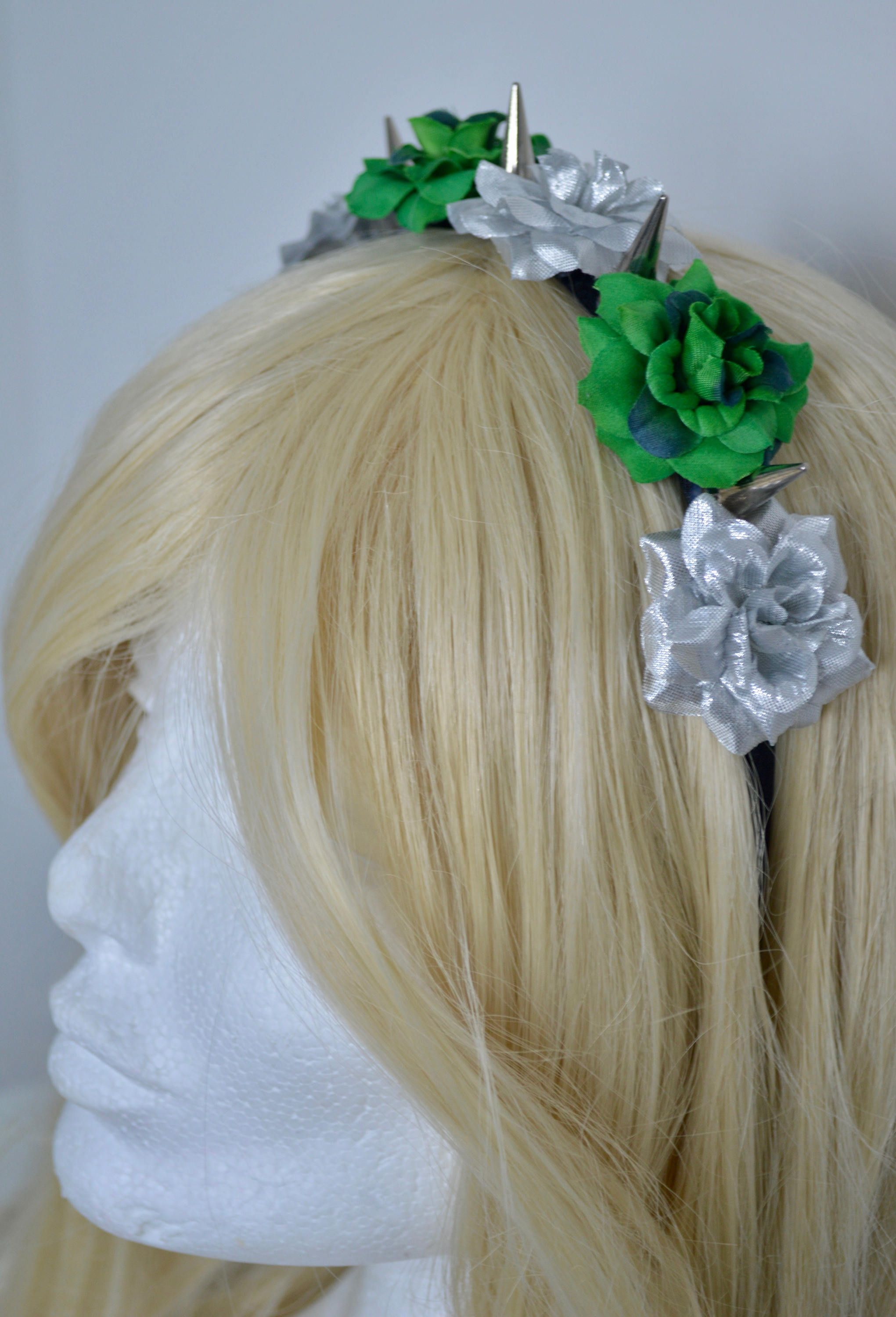 Slytherin House Themed Rose Flower Crown With Metal Silver Spikes