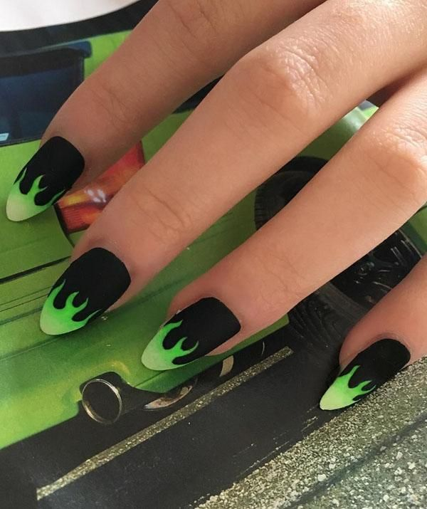 51 Stylish Fire Nail Art Design Ideas You Must Try Fire Nails Edgy Nails Grunge Nails