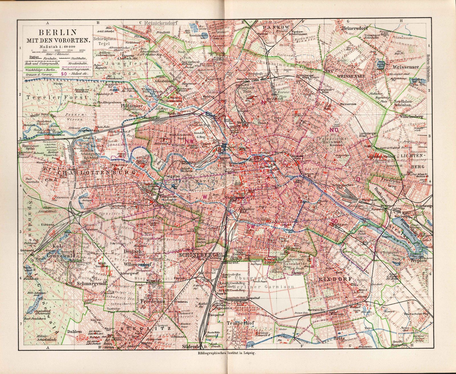 Map Of Germany 2000.Ca 1890 Germany Berlin Mit Den Vororten City Plan Antique Map In