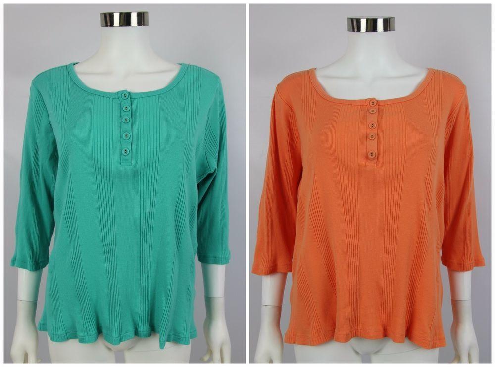 Lot of 2 Denim & Co QVC Womens Plus Sz 1X 18W-20W Orange Blue Ribbed Henley Top #DenimCo #KnitTop #Casual
