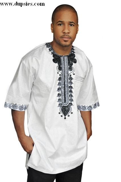 c5d35ead9bb White Dashiki Shirt with Black Embroidery-DP2980