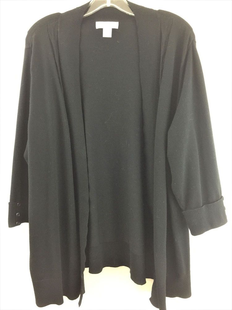 8db9327ed29 Womens Plus Size 1X CJ Banks Open Cardigan Black 3 4 Sleeve Light Rayon  Sweater  CJBanks  Cardigan