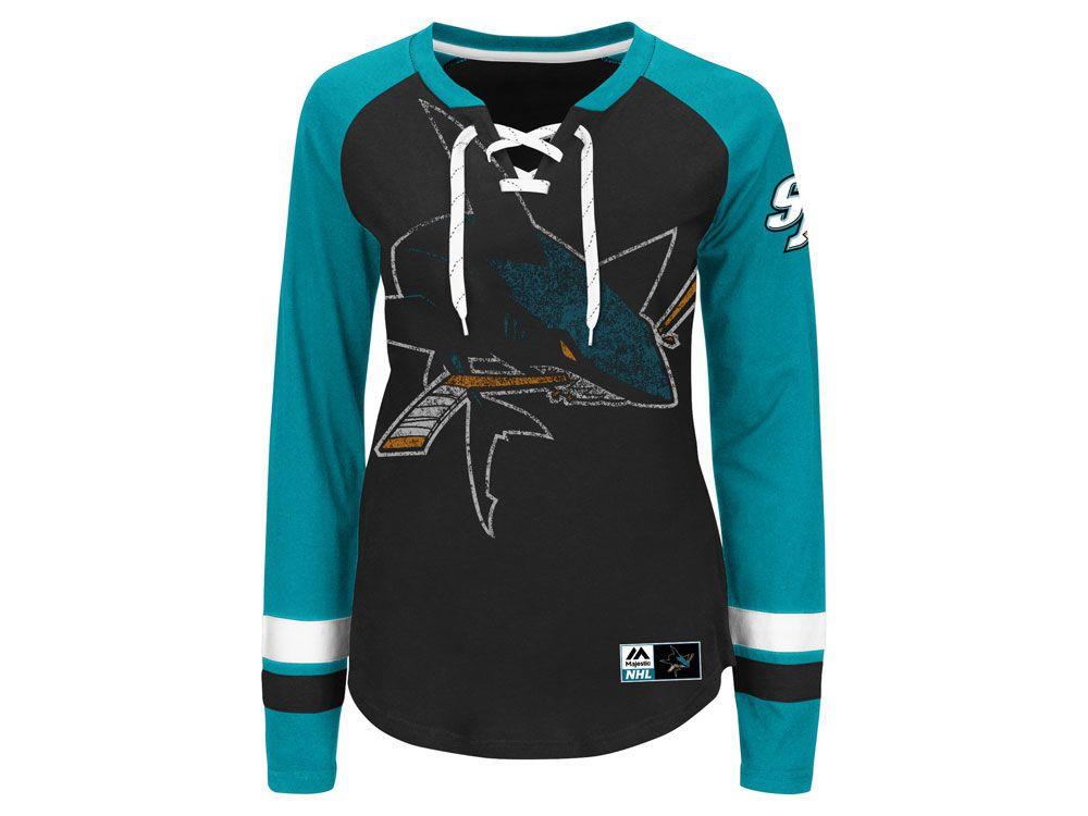 more photos 28e3a 49fa3 San Jose Sharks Majestic NHL Women's Hip Check Long Sleeve T ...