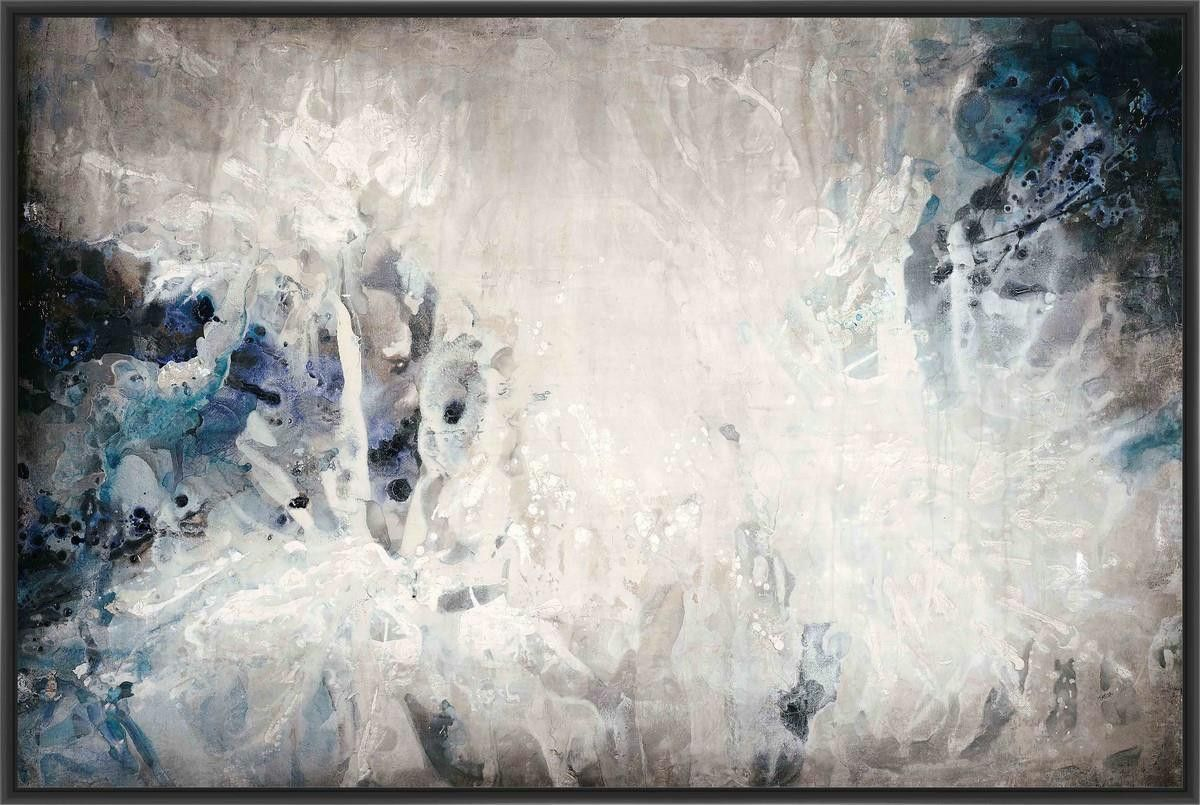 Splash of blue l x h floater framed art giclee wrapped canvas