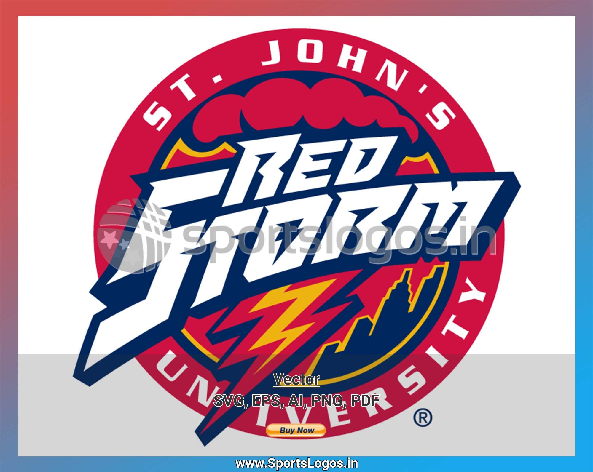 St John S Red Storm College Sports Vector Svg Logo In 5 Formats Spln004170 Sports Logos Embroidery Vector For Nfl Nba Nhl Mlb Milb And More Sports Logo Embroidery Logo College Sports