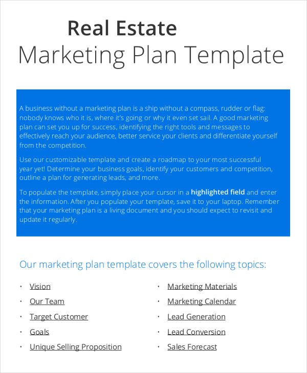 Marketing Plan Template Marketing Plan Sample  Marketing Plan