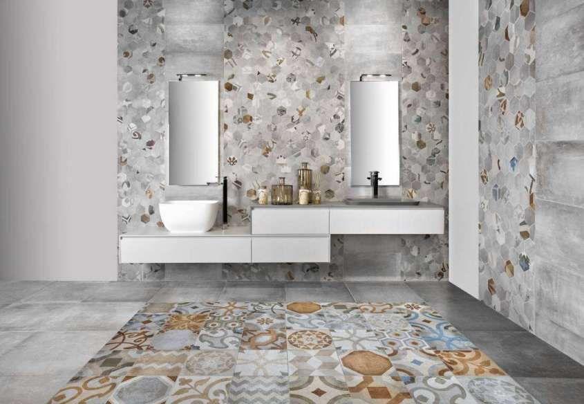 Cementine Bagno ~ Arredare il bagno con le cementine bagno con piastrelle stile